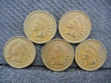 (5) 1907 Indian Head Cents
