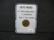 1870 Indian Head Cent - 3 Diamonds, Full Liberty, Rare in This Condition