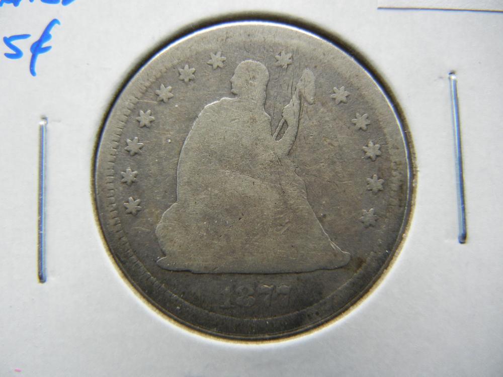 1877-S Seated Liberty Quarter.  VG+.