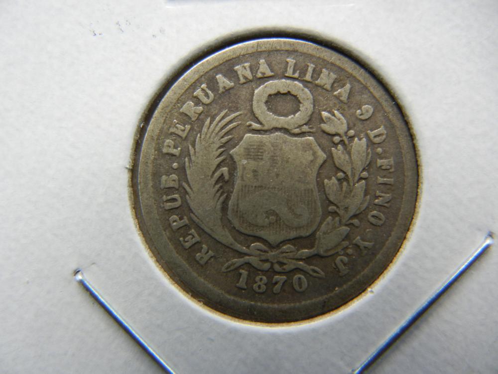 1870 Peru Silver 1 Dinero.