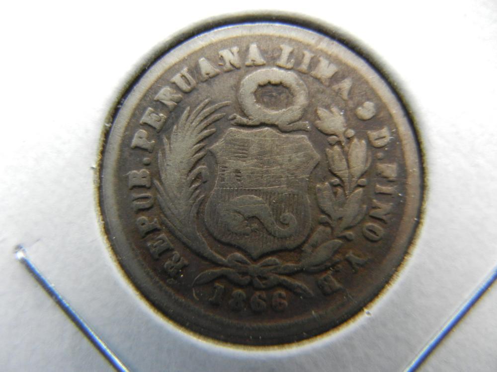 1866 Peru Silver 1 Dinero.
