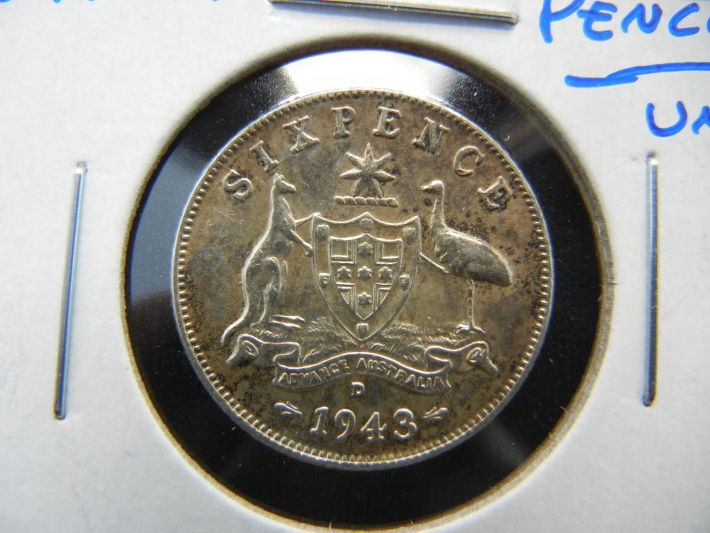 1943-D Australia Silver 6 Pence.  UNC.