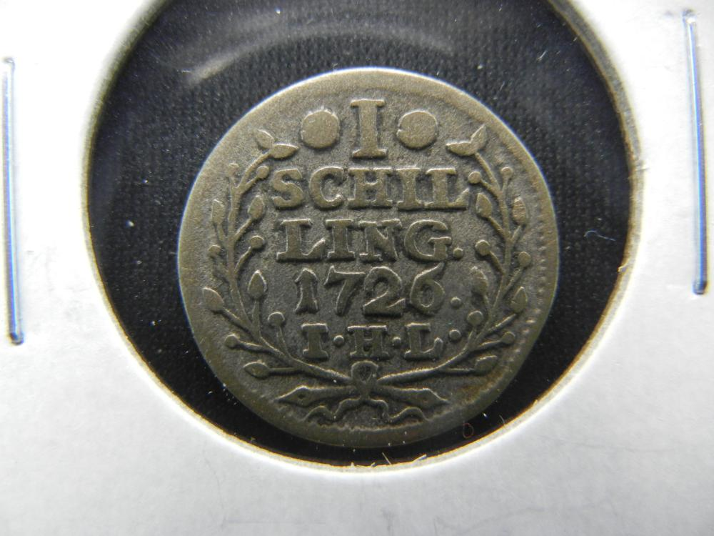 1726 Germany-Hamburg 1 Schilling.  Nice!  Rare.