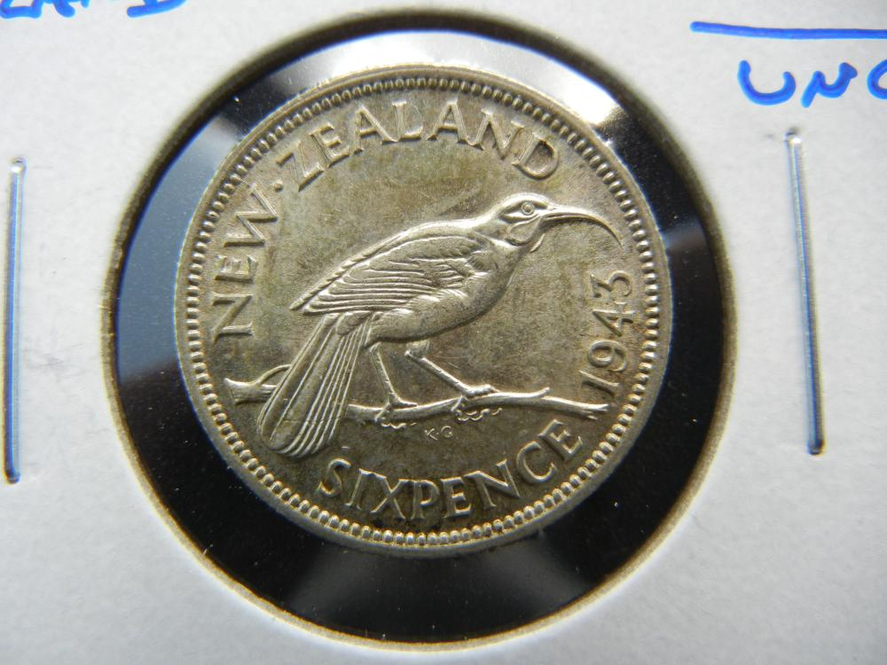 1943 New Zealand Silver 6 Pence.  UNC.  Scarce.