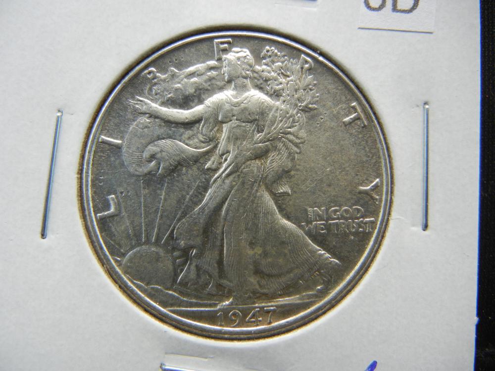1947 Walking Liberty Half Dollar.  AU/UNC.