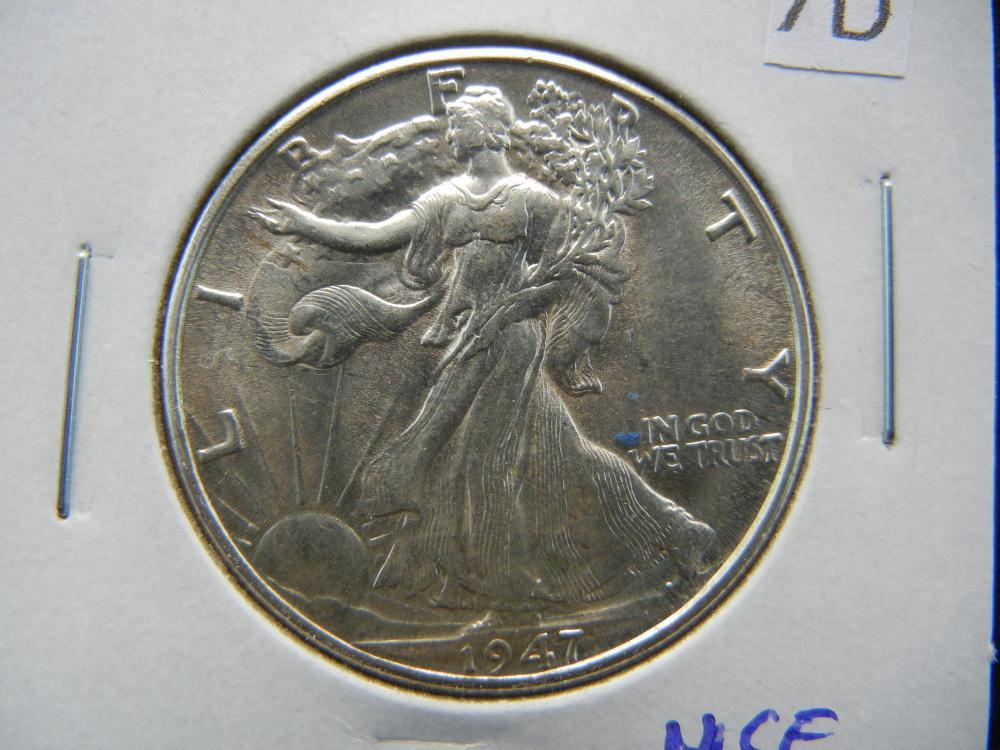 1947-D Walking Liberty Half Dollar .  Nice UNC.