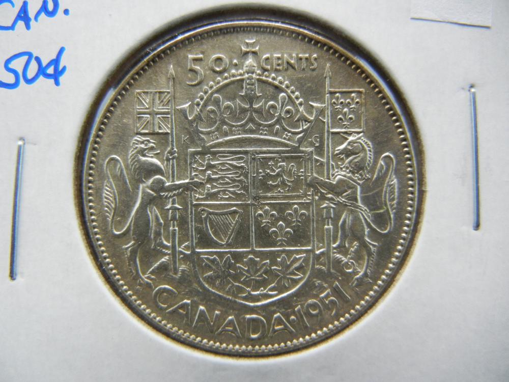 1951 Canada Half Dollar .  AU.