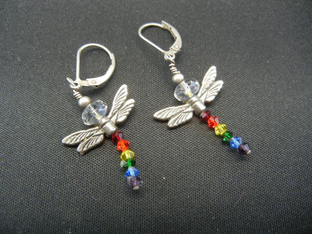 """Sterling Silver Earrings.  """"Dragonflies""""."""