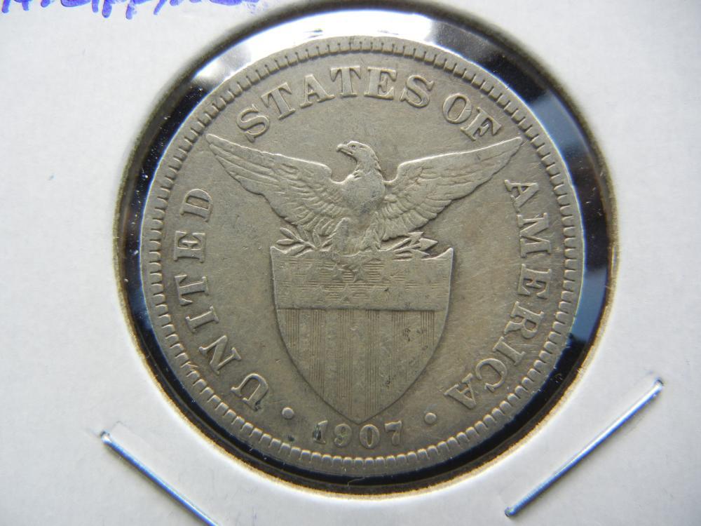 1907 Philippines 50 Centavos.  Silver.  Nice.