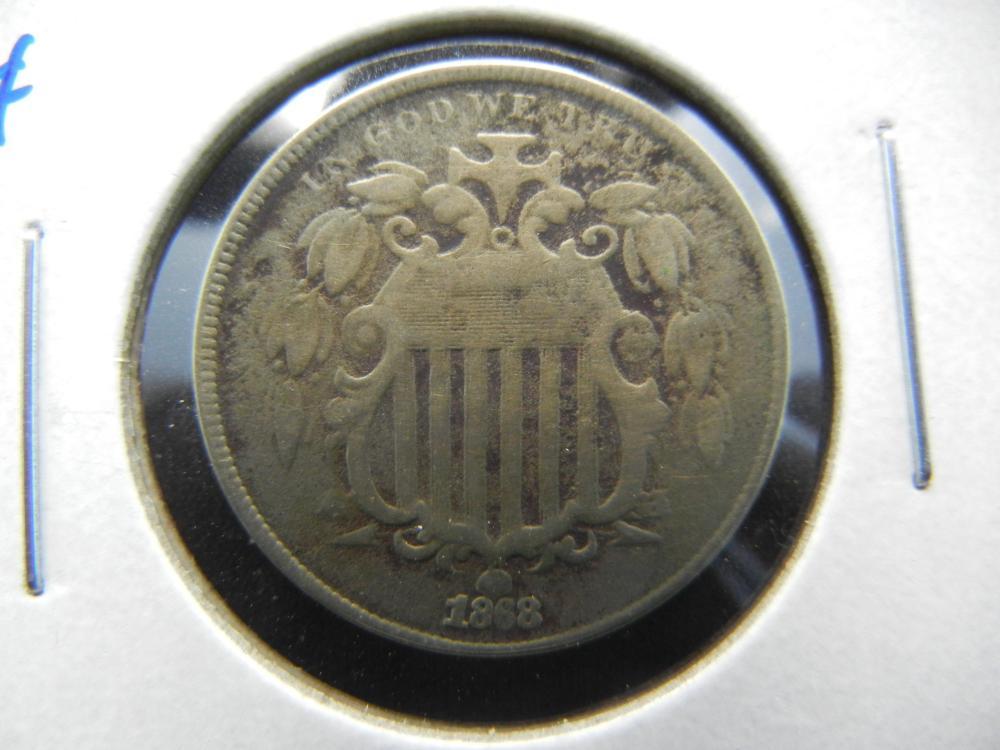 1868 Shield Nickel .  VF.