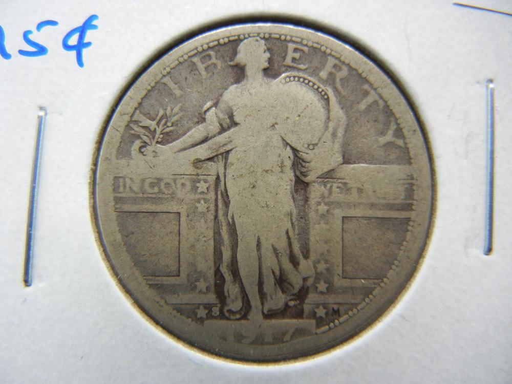 1917-S Standing Quarter.  Fine.