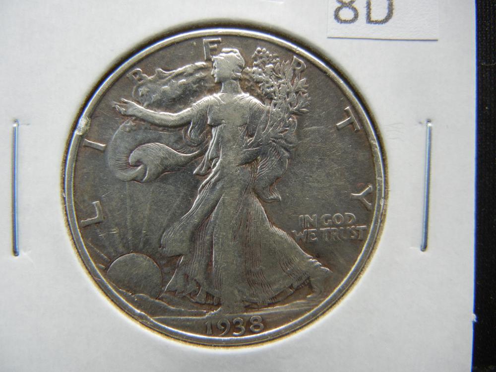 1938 Walking Liberty Half Dollar .  XF.