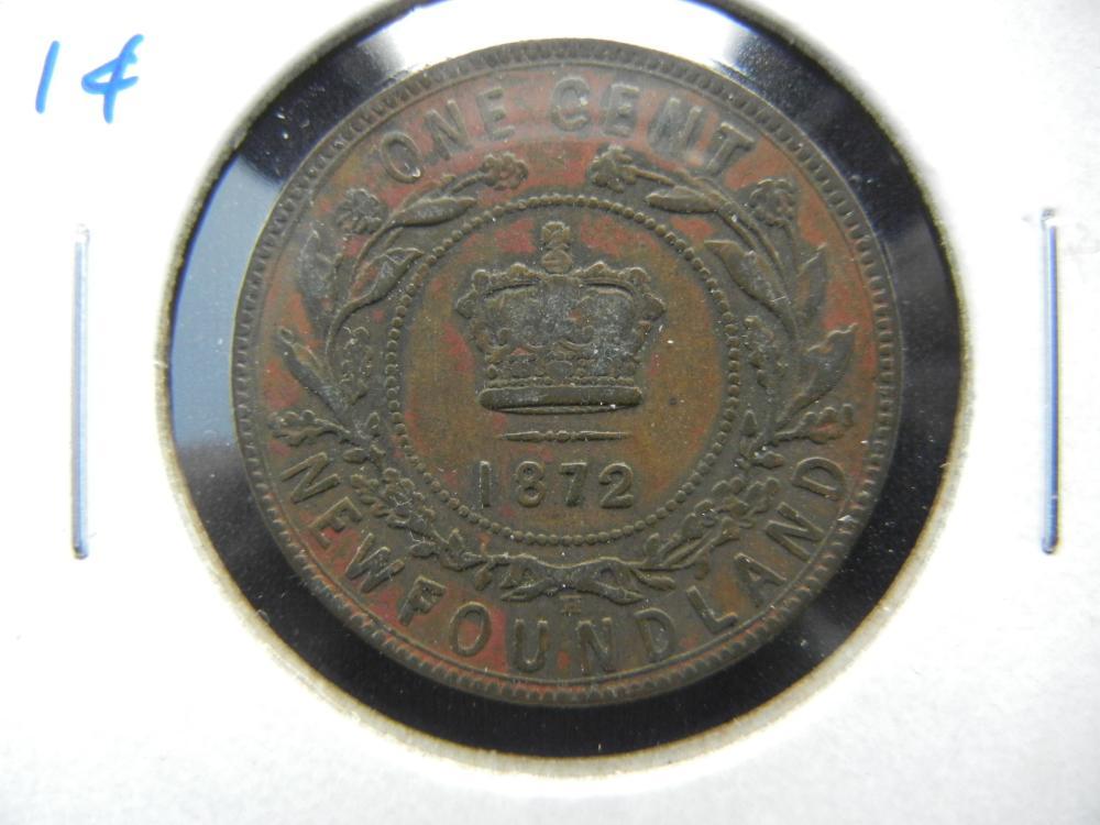 1872-H Newfoundland One Cent .  Fine+.