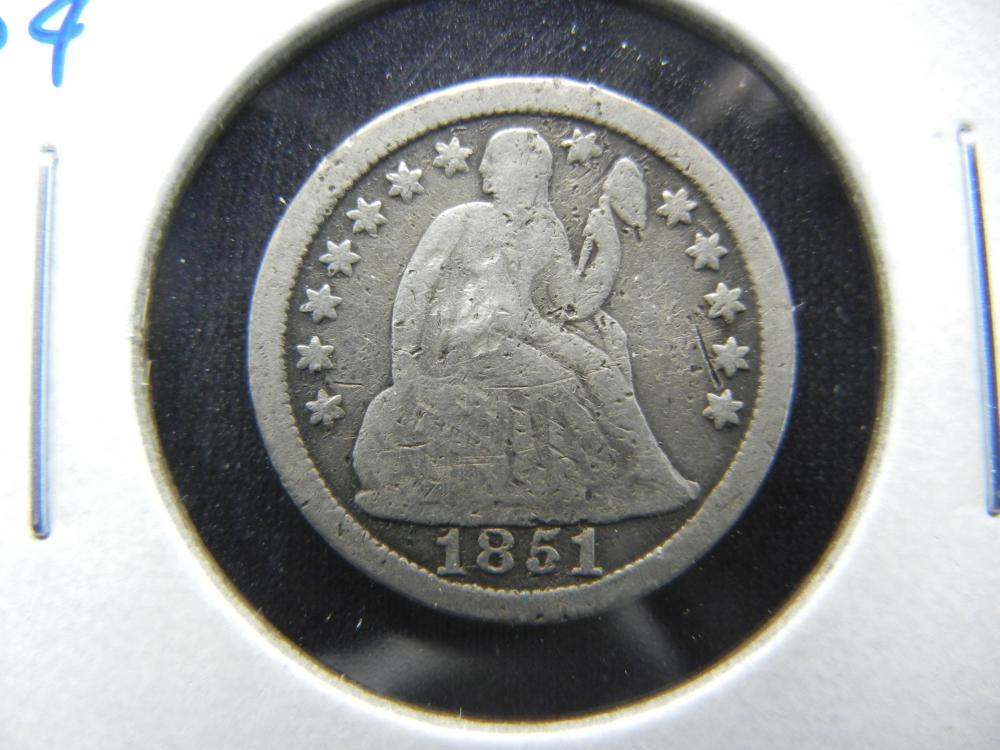 1851 Seated Dime.  Fine.
