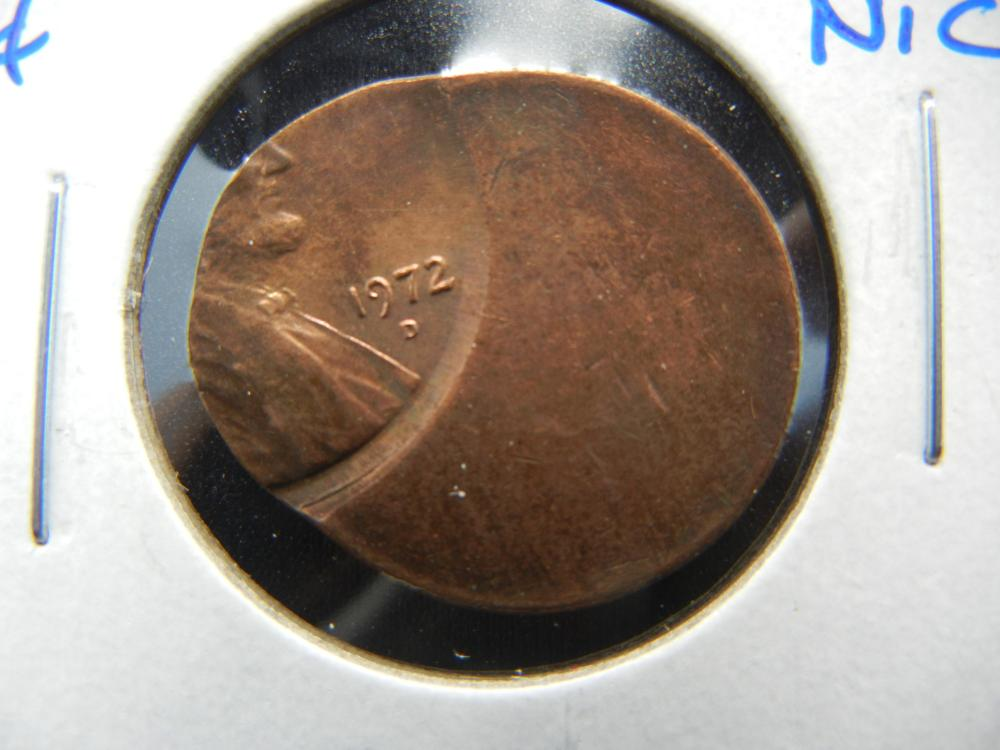 1972-D Lincoln One Cent .  50% Off-Center.  Nice!