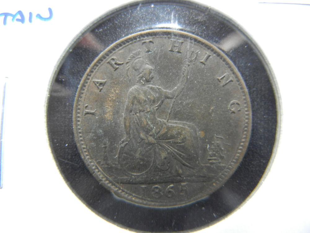 1865 Great Britain Farthing.  Nice.  Scarce.
