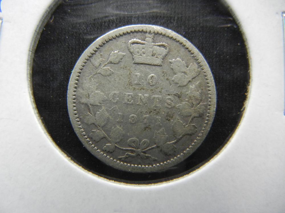 1871 Canada Dime.  Scarce Date.