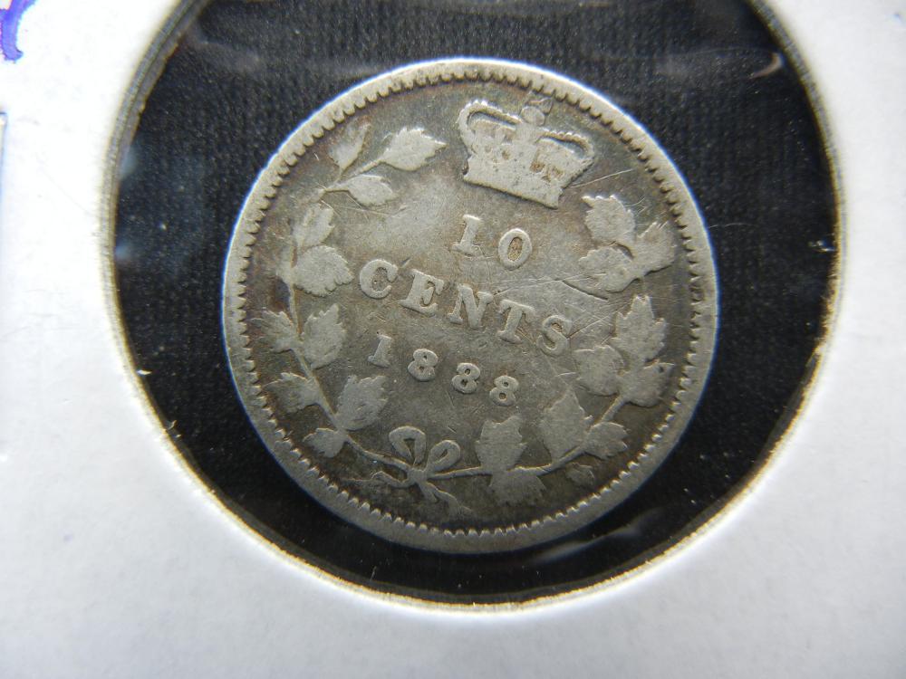 1888 Canada Dime.  Scarce Date.  Fine.