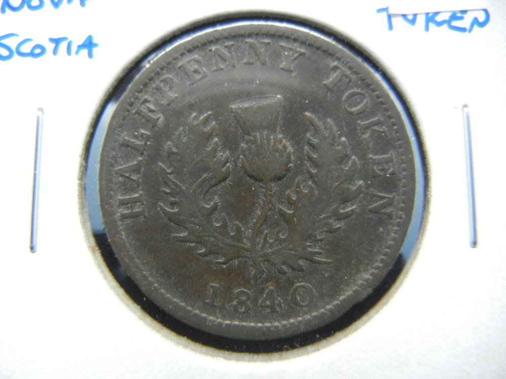 1840 Nova Scotia 1/2 Penny Token.