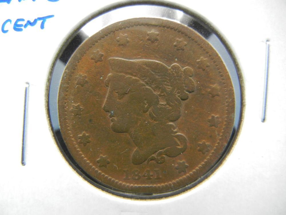 1841 Large Cent.  Fine.