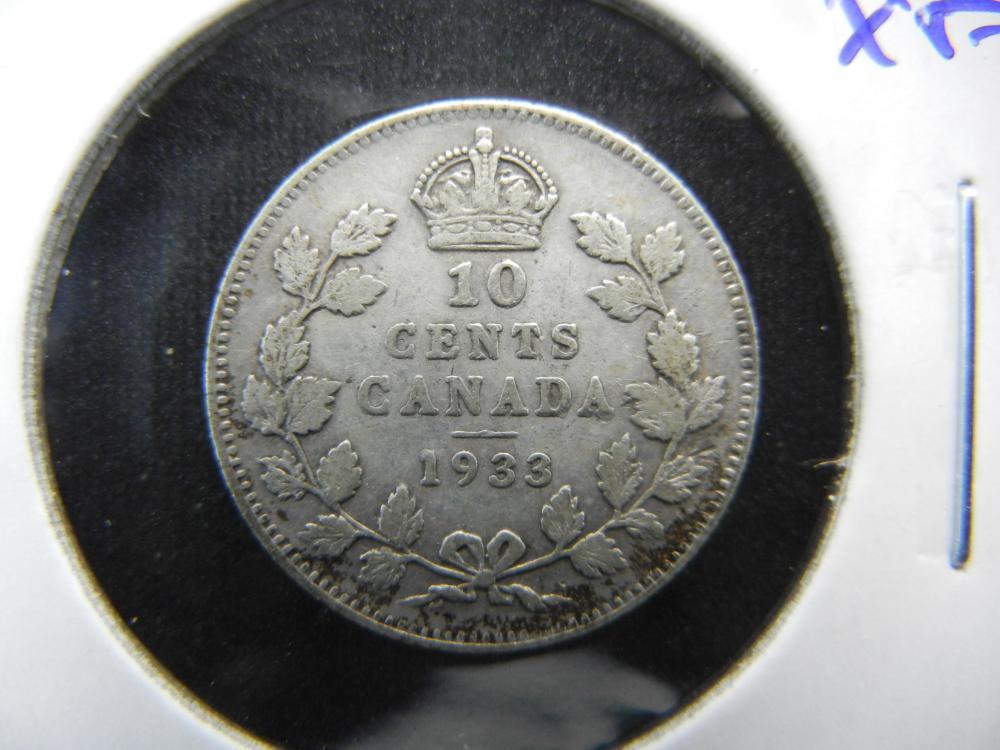 1933 Canada Dime.  Low Mintage.  XF.