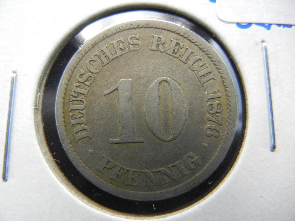 1876-J Germany 10 Pfennig.  Scarce.