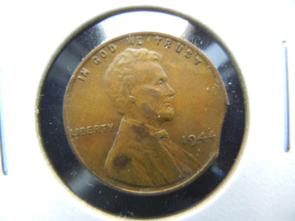 1944 One Cent .  Clipped Planchet.  Nice Error.