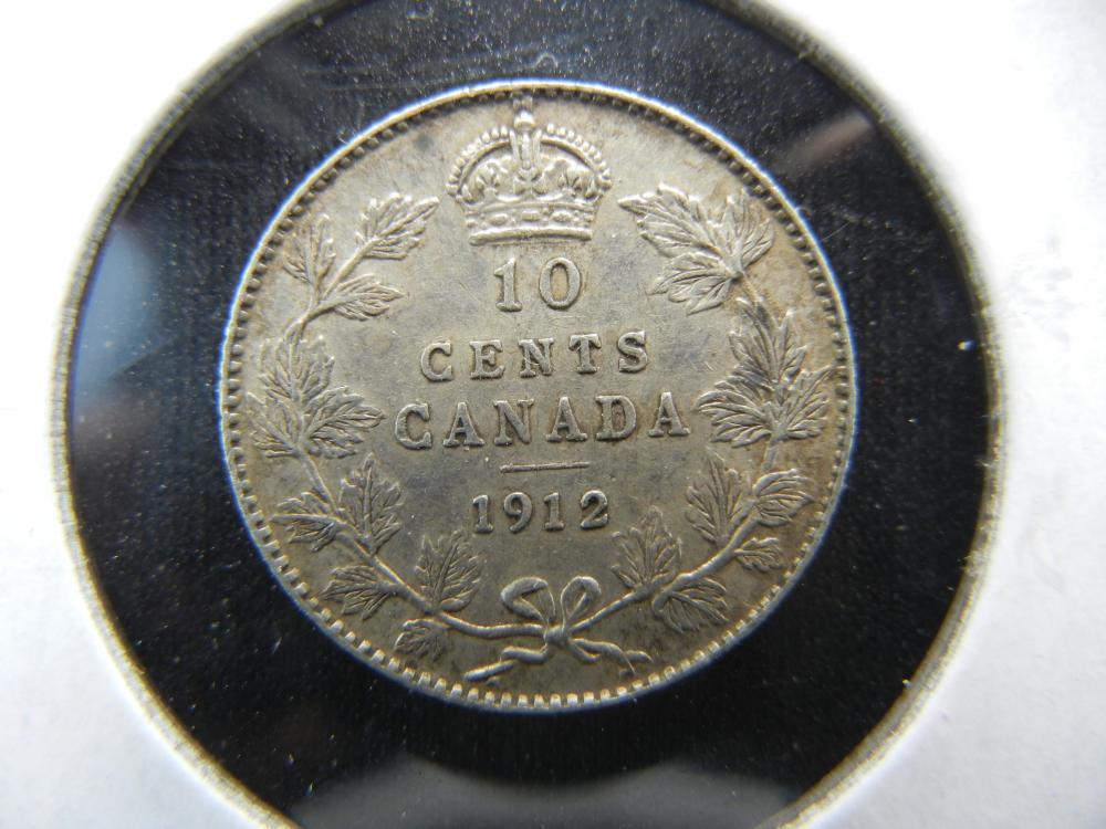 1912 Canada Dime.  AU.