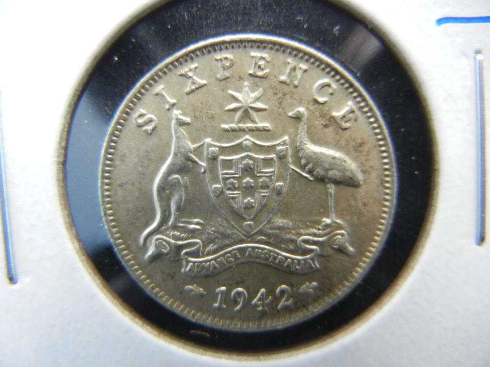 1942 Australia Silver 6 Pence.  UNC.