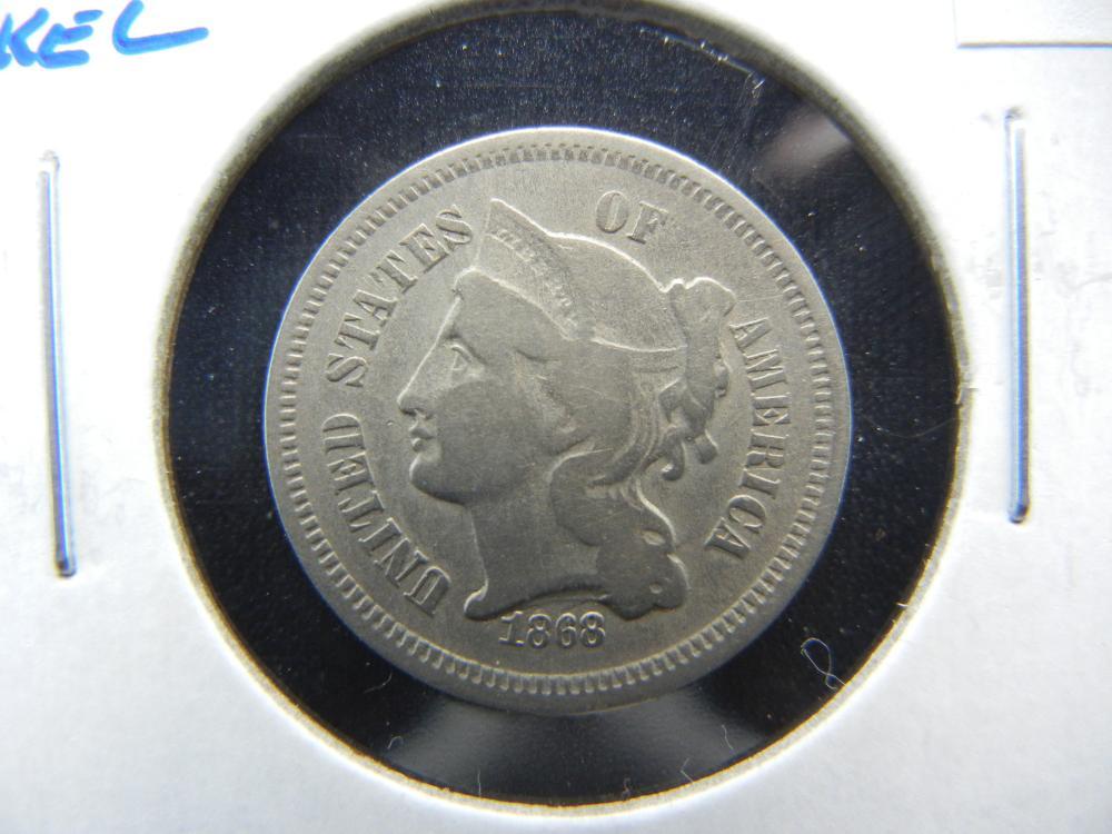 1868 3c Nickel.  VF.
