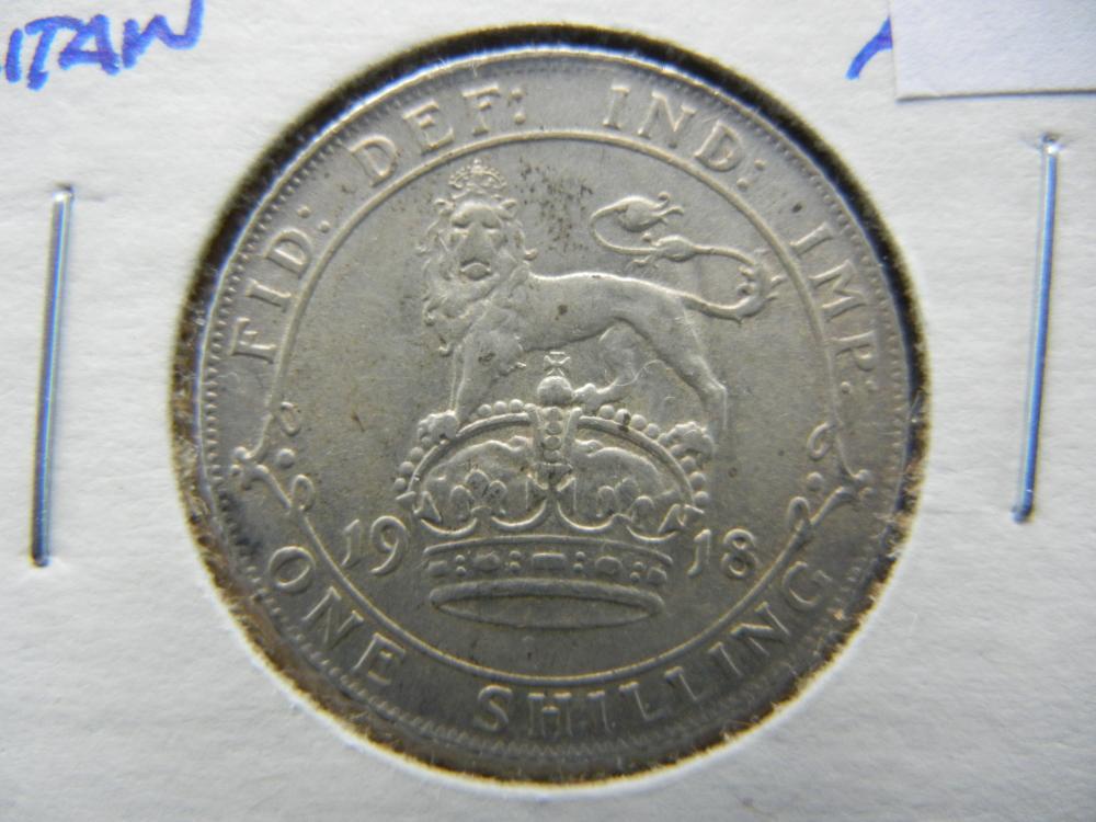 1918 Great Britain Silver Shilling.  AU+.  Rare.