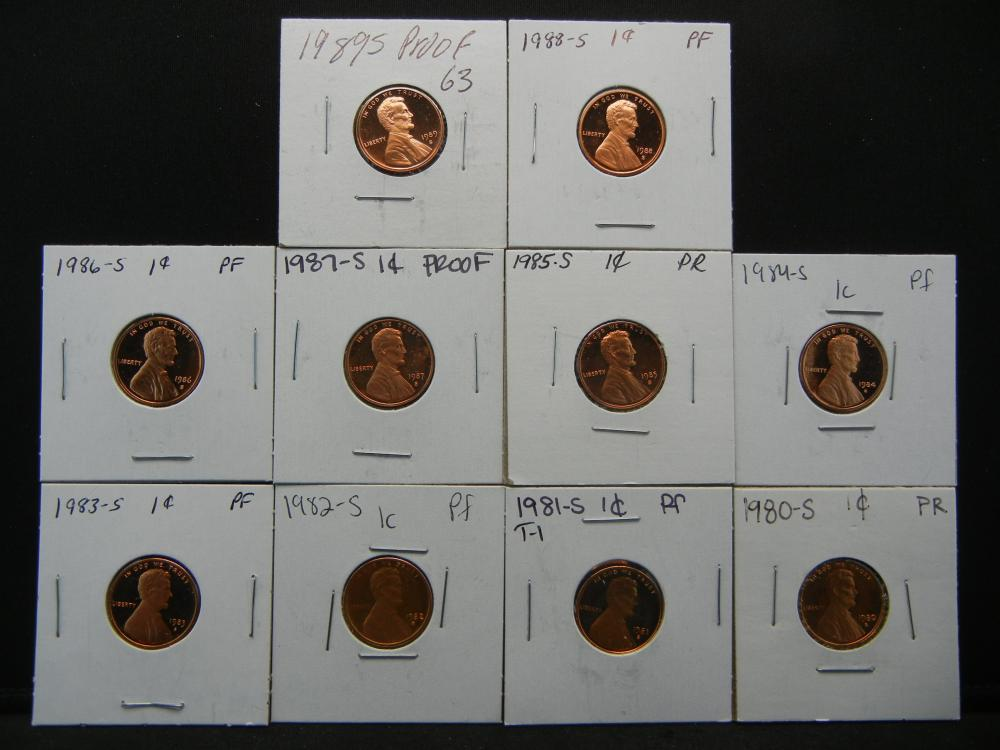 1980-1989 Proof One Cent .  In 2x2's.  10 Coins.