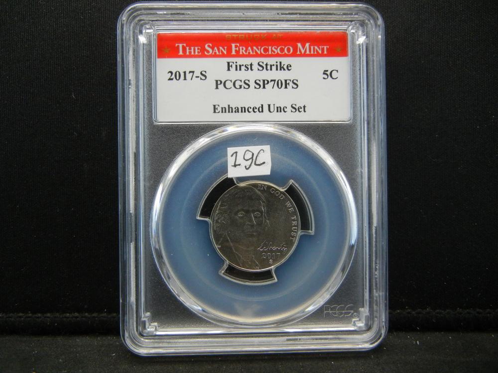 2017-S Nickel .  First Strike.  PCGS SP70FS.  The San Francisco Mint.