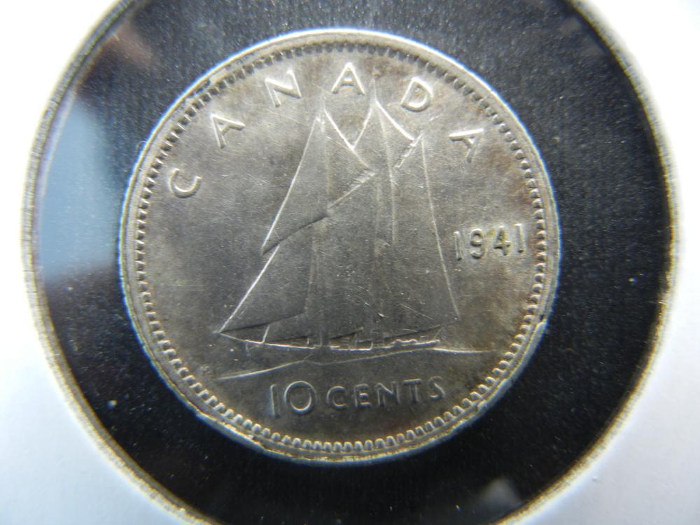 1941 Canada Dime.  AU/UNC.