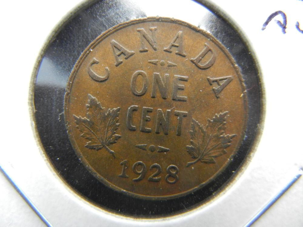 1928 Canada One Cent .  High Grade.  AU+.