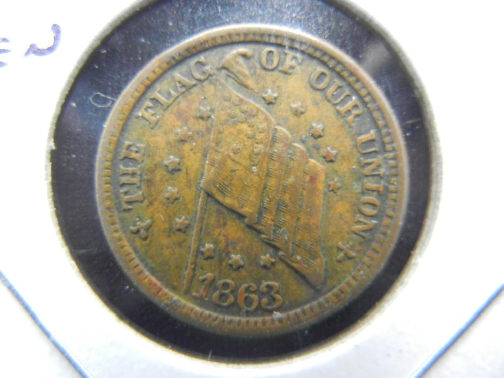 1863 Civil War Token.  The Flag of Our Union.