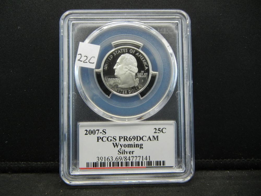 2007-S Quarter.  PCGS PR69DCAM.  Wyoming.  Silver.