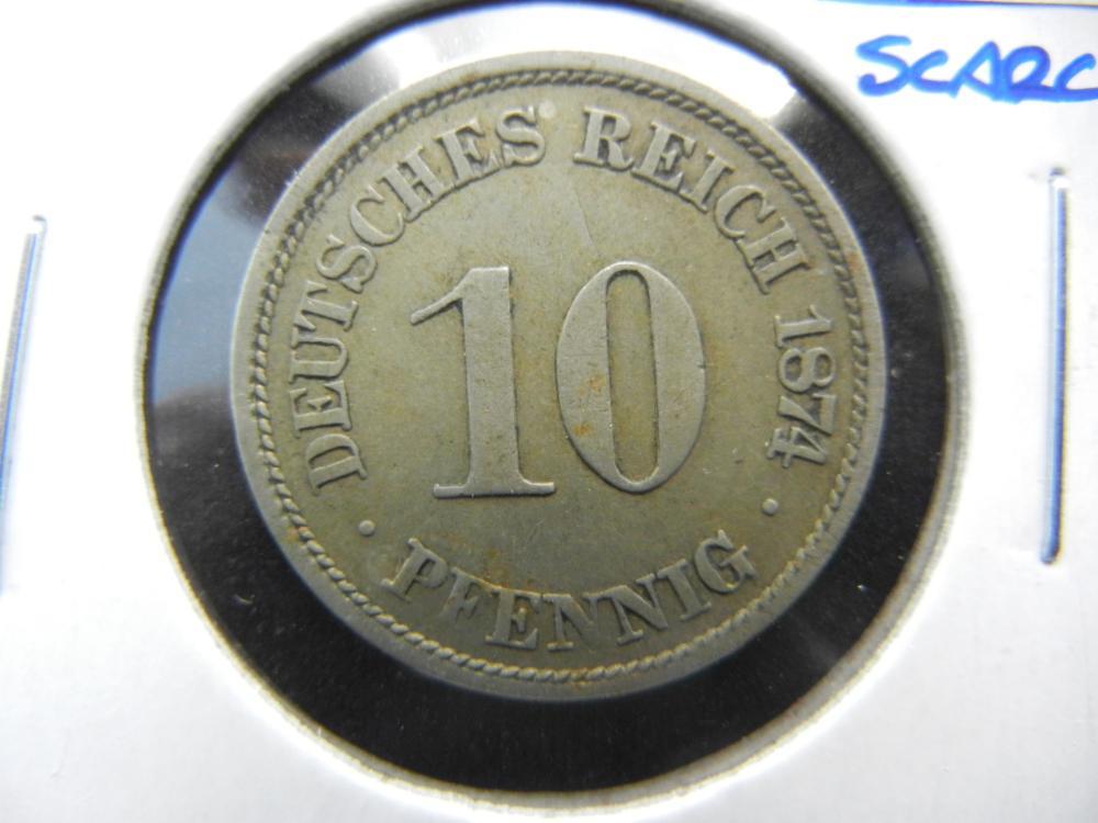 1874-A Germany 10 Pfennig.  Scarce.