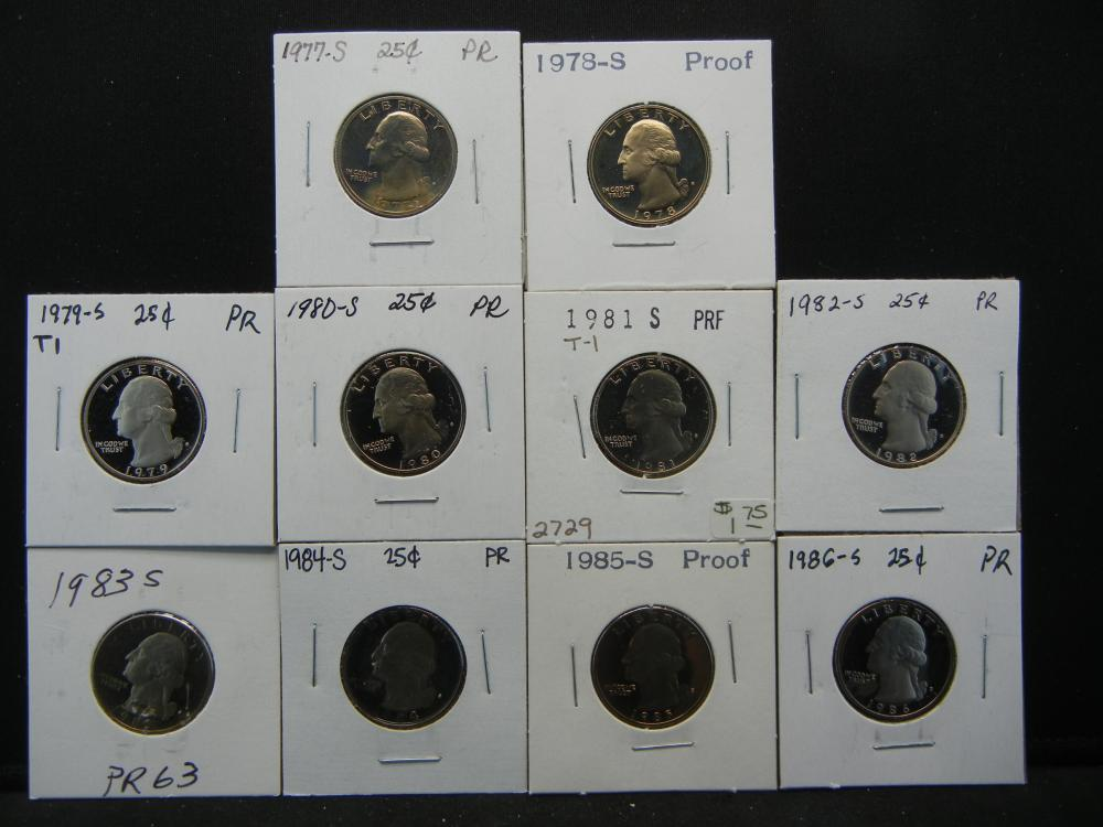 1977-1986 Proof Quarter.  In 2x2's.  10 Coins.
