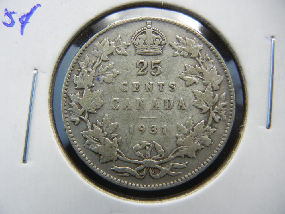 1931 Canada Quarter.  XF.
