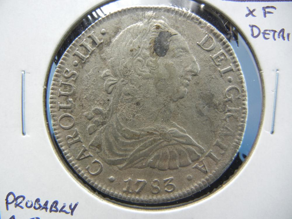 1783 Mexico 8 Reales.  XF Detail.  Probably A Sea Salvage Coin.  Rare.