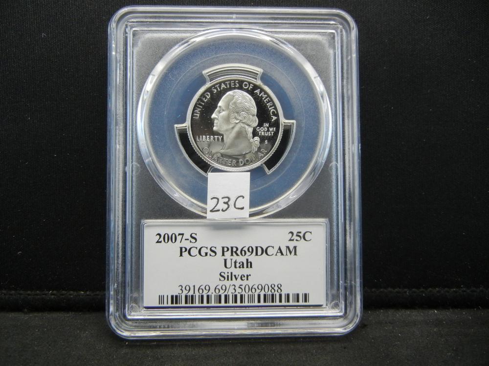 2007-S Quarter.  PCGS PR69DCAM.  Utah.  Silver.
