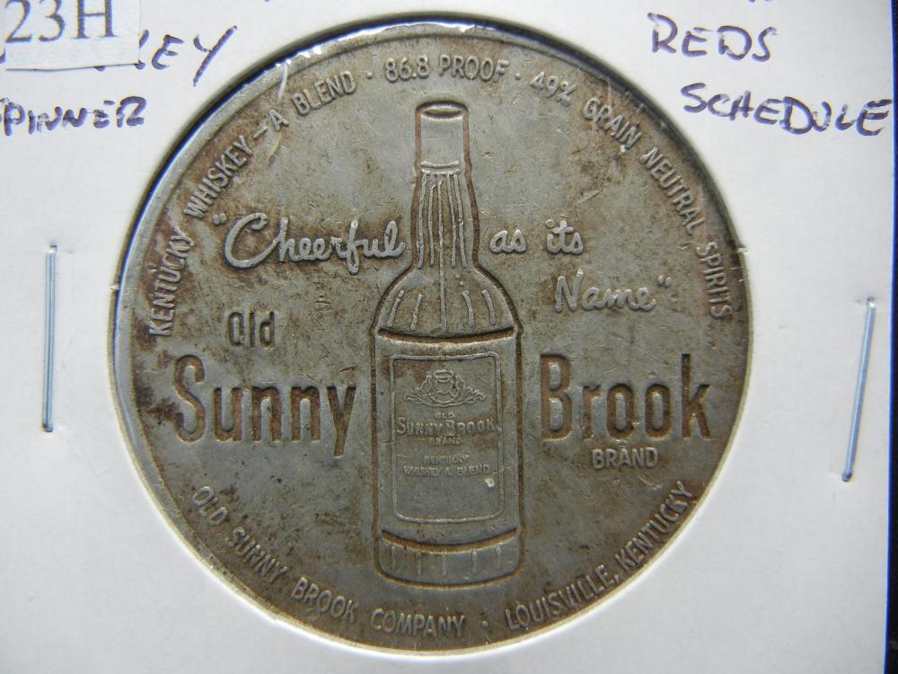 Old Sunny Brook Whiskey Spinner.  1951 Cincinnati Reds Schedule.  Rare.