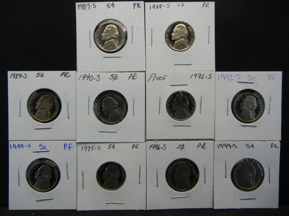 1987-1990, 1992-1996, and 1999 Proof Nickel .  In 2x2's.  10 Coins.