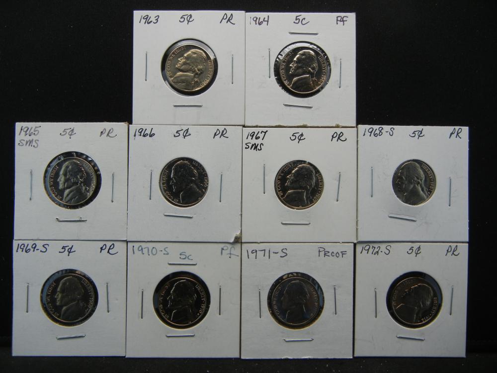 1963-1972 Proof Nickel .  In 2x2's.  10 Coins.
