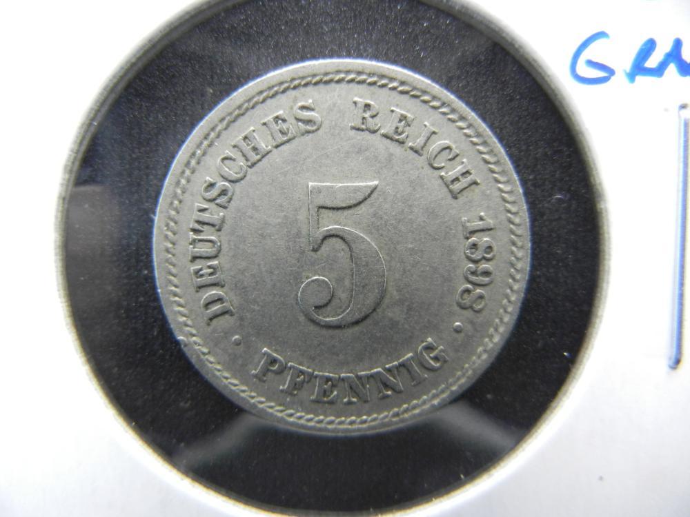 1898-F Germany 5 Pfennig.  High Grade.