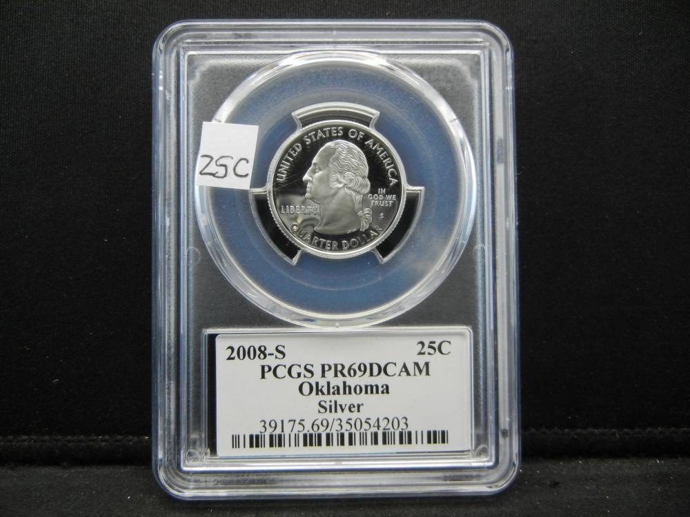 2008-S Quarter.  PCGS PR69DCAM.  Oklahoma.  Silver.