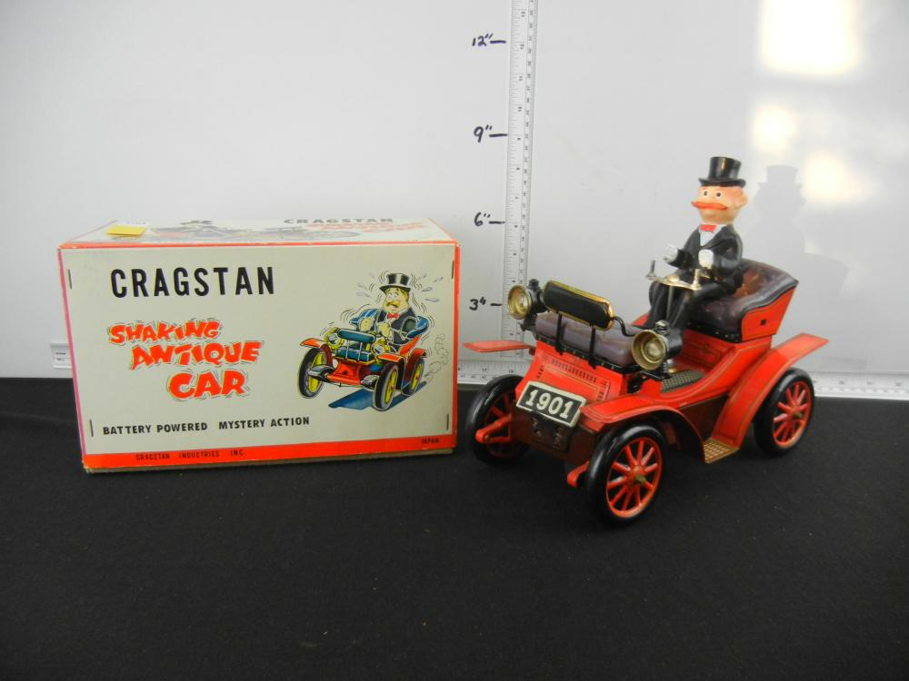 Battery Operated Cragstan Shaking Antique Car In Original