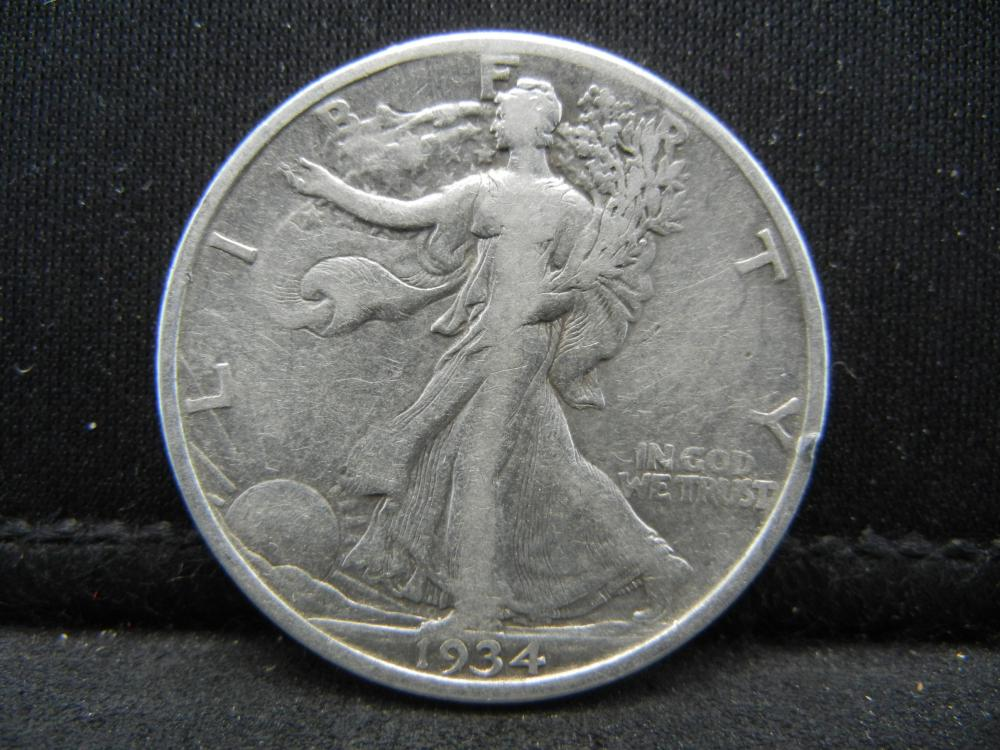 Lot 39C: 1934 SILVER (90%) WALKING LIBERTY HALF, 85 YRS OLD,