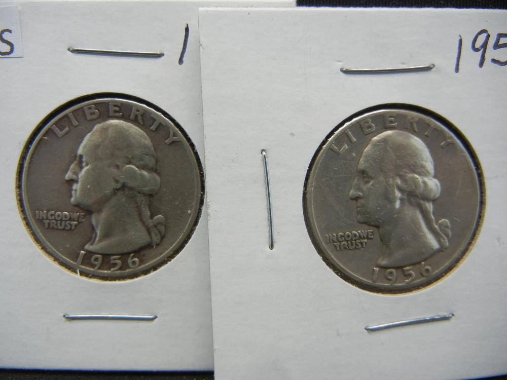 Lot 45S: 1956 PD Silver Washington Quarters